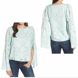 LEITH Mint Bell/Flare Sleeve Floral Blouse, S
